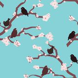 Bright and colorful hand drawn birds design seamless pattern vector stock illustration