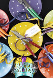 Bright and colorful Happy New Year party dinner table Stock Photos