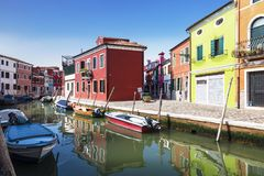 Bright colorful houses on Burano island on the edge of the Venetian lagoon. Venice Royalty Free Stock Photo