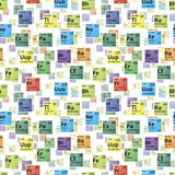 Bright colorful icons of chemical elements, seamless pattern Stock Photography