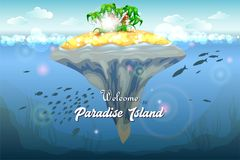 Resort topical island. Invitation card. Underwater coral reef seabed and water surface with tropical isl stock image royalty free illustration