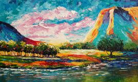 Bright colorful landscape - Original oil painting on canvas - Modern art royalty free illustration