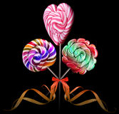 Bright colorful lollipop over black background Royalty Free Stock Photo