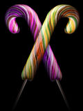 Bright colorful lollipop over black background Royalty Free Stock Photos