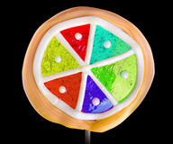 Bright colorful lollipop over black background Royalty Free Stock Image
