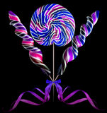 Bright colorful lollipop over black background Stock Image