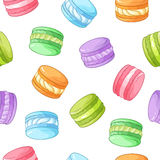 Bright colorful macarons seamless vector pattern. On white background Stock Images