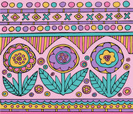 Bright colorful mexican pattern with flowers Royalty Free Stock Photography