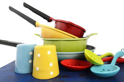 Bright colorful modern kitchen pot and pans Royalty Free Stock Photos