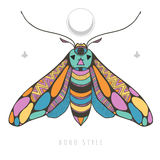 Bright with colorful moth. Bright colorful moth, vector with colorful and mysterious butterfly Royalty Free Stock Images