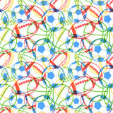 Bright colorful multiple sports balls icons on white, seamless pattern Royalty Free Stock Images