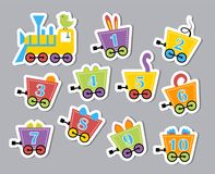 Bright colorful numbers. Developmental stickers for children. Vector illustration of caravans with beasts Royalty Free Stock Photography