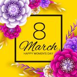 Bright Colorful Origami Flowers. Happy Women s Day. 8 March. Trendy Mother s Day. Paper cut Exotic Tropical Floral. Greetings card. Spring blossom on yellow vector illustration