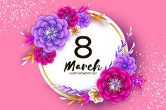 Bright Colorful Origami Flowers. Happy Women s Day. 8 March. Trendy Mother s Day. Paper cut Exotic Tropical Floral. Greetings card. Spring blossom on pink stock illustration