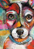 A Bright and Colorful Original Painting of a Rat Terrier royalty free illustration