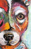 A Bright and Colorful Original Painting of a Rat Terrier stock illustration