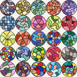 Bright colorful painted circles. Stock Photos