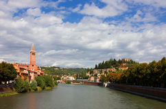 Verona Adige River view Toward Castel San Pietro Royalty Free Stock Images