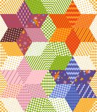 Bright colorful patchwork pattern with stars from rhombuses patches. Seamless vector illustration of quilt. Print for fabric, textile, rug stock illustration