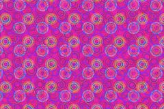 Colorful bright pattern of circles over purple background. Bright colorful pattern of blue and yellow circles. repeating pattern of beaded circles over purple Stock Images