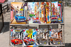 Bright colorful picture of Cuban artists that are sold on the street Royalty Free Stock Photo