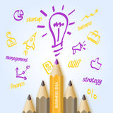 Bright colorful poster business idea with pencils and drawings for infographics. Vector illustration Royalty Free Stock Image