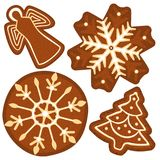 Bright colorful poster with christmas ginger bread tree, angel, snowflake. Stock Image