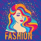 Beauty fashion model girl with colorful dyed hair colourful long-hair portrait. Bright colorful poster with fashion quote and fashion beautiful woman style 80`s Royalty Free Stock Photography