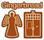 Bright colorful poster with ginger bread cookie angel and phone box. Stock Image