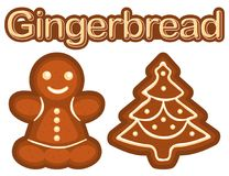 Bright colorful poster with ginger bread cookie woman and christmas tree. Royalty Free Stock Photos