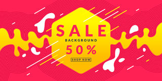 Bright colorful poster Sale 50 percent with dynamic waves and splashes. Vector illustration. In flat style Stock Image