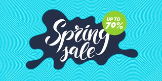 Bright colorful poster Sale 70 percent with dynamic waves and splashes. Vector illustration. In flat style Stock Image