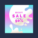 Bright colorful poster Sale 50 percent with splashes. Vector illustration in flat style Stock Photos