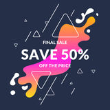 Bright colorful poster Sale 50 percent with splashes. Vector illustration in modern style. Bright colorful poster Sale 50 percent with splashes. Vector Royalty Free Stock Photos