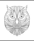 Bright, colorful print with the sketch owl. Adult coloring Royalty Free Stock Photo