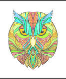Bright, colorful print with the sketch owl. Modern bird Royalty Free Stock Photos