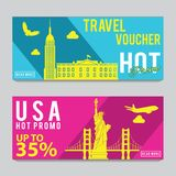 Bright and colorful promotion banner with pink and blue color for USA travel,silhouette art design. Vector illustration stock photos