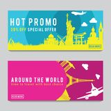 Bright and colorful promotion banner with pink and blue color for World travel,silhouette art design. Vector illustration stock photos