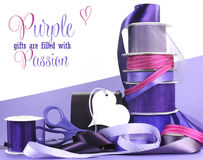 Bright colorful purple theme gift wrapping Royalty Free Stock Image