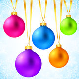 Bright colorful rainbow Christmas balls Stock Image
