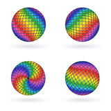 Bright Colorful Rainbow Sphere Ball. Bright Colorful Rainbow 3D Sphere. Iridescent Mosaic Ball Royalty Free Stock Images