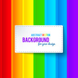 Bright colorful rainbow stripes vector background. With label Stock Photography