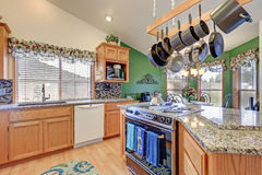 Bright colorful rambler kitchen room design Stock Photos