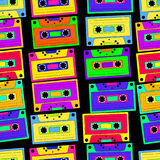 Bright, colorful, retro cassette seamless pattern, on a black ba stock illustration