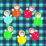 Bright colorful roly-poly toys on checkered background Stock Photos