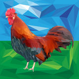 Bright colorful rooster on a landscape background. Red fiery cock is a 2017 year symbol. Low poly style vector illustration Royalty Free Stock Photography