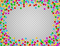 Bright colorful round confetti frame isolated on transparent background. Vector illustration. Bright colorful round confetti frame isolated on transparent Stock Photography
