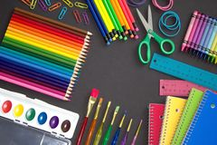 Bright and Colorful School Supplies royalty free stock photos