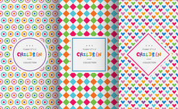 Bright colorful seamless patterns for baby style stock illustration