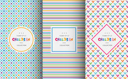 Bright colorful seamless patterns for baby style Stock Images